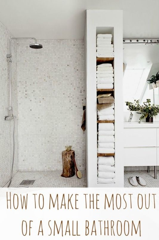 How to make the most of a small bathroom; I love the in wall storage for towels instead of a linen closet