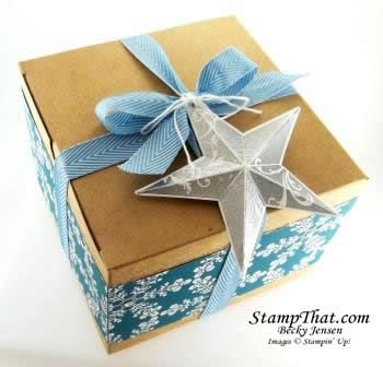 up extralarge gift box decorated with christmas star single stamp