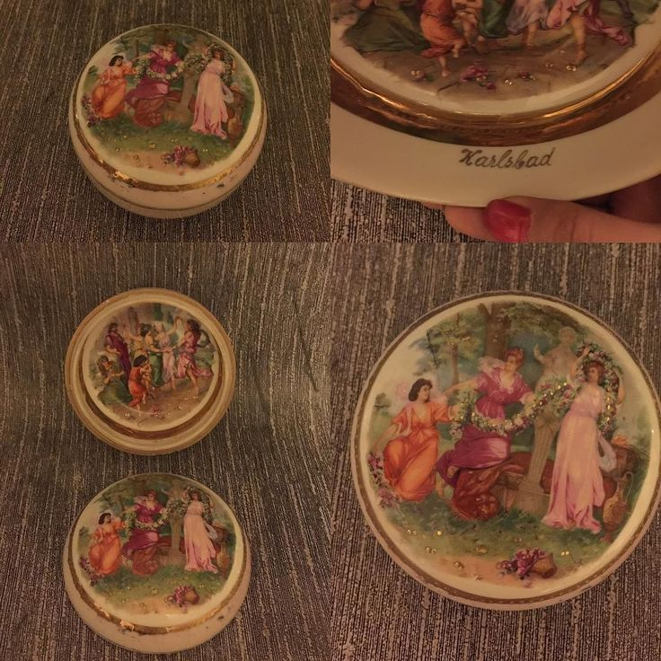 Büyük boy kutu içide dılıda el boyama Karlsbad imzalı  Karlsbad signed porcelain box  the lid top and inner side of box is handpainted #karlsbad #handpainted #porcelainbox