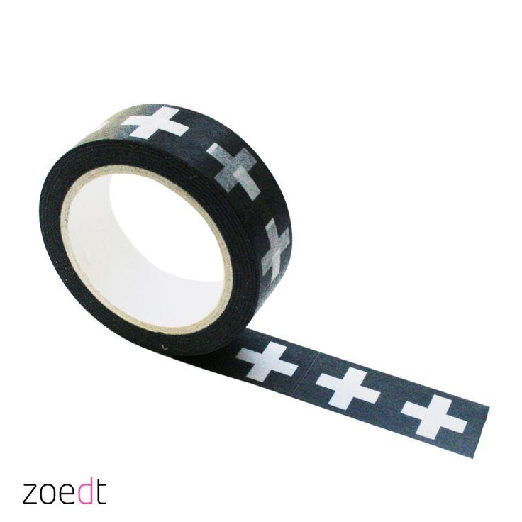 Leuke zwarte maskingtape  met witte plusjes.... lengte rol 10 meter. meer leuke verschillende tape in de webshop of winkel