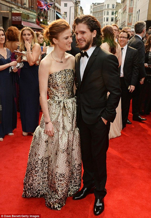 Game of Thrones' Kit Harington and Rose Lesliestep out at Olivier Awards | Daily Mail Online