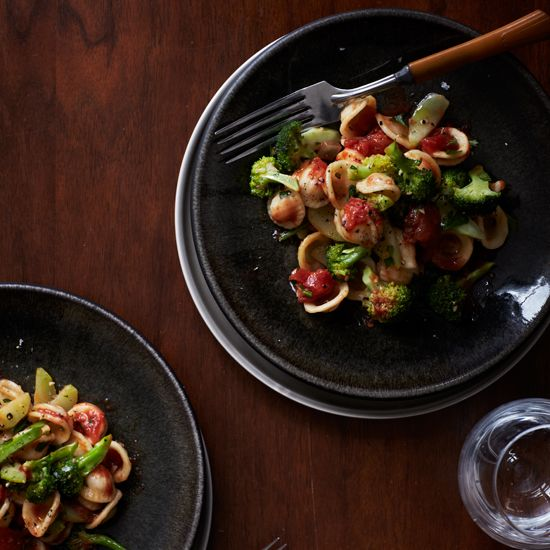 Orecchiette with Broccoli and Tomatoes | These healthy pasta recipes feature deliciously spicy soba noodles with grilled shrimp and cilantro, and vitamin A–rich macaroni and cheese.