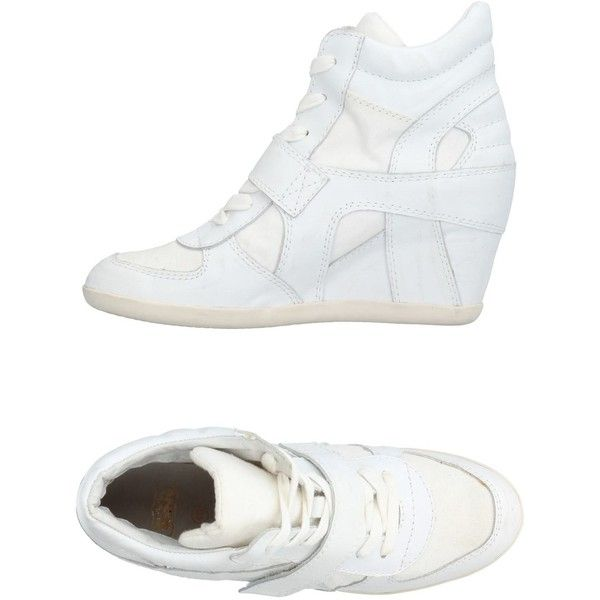 Ash Sneakers ($204) ❤ liked on Polyvore featuring shoes, sneakers, white, hidden wedge shoes, white trainers, ash sneakers, white wedge shoes and leather shoes