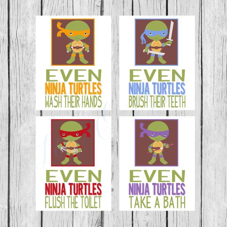 Ninja Turtle Bathroom Set Printable Wash Your By LoveandPrint, $12.50