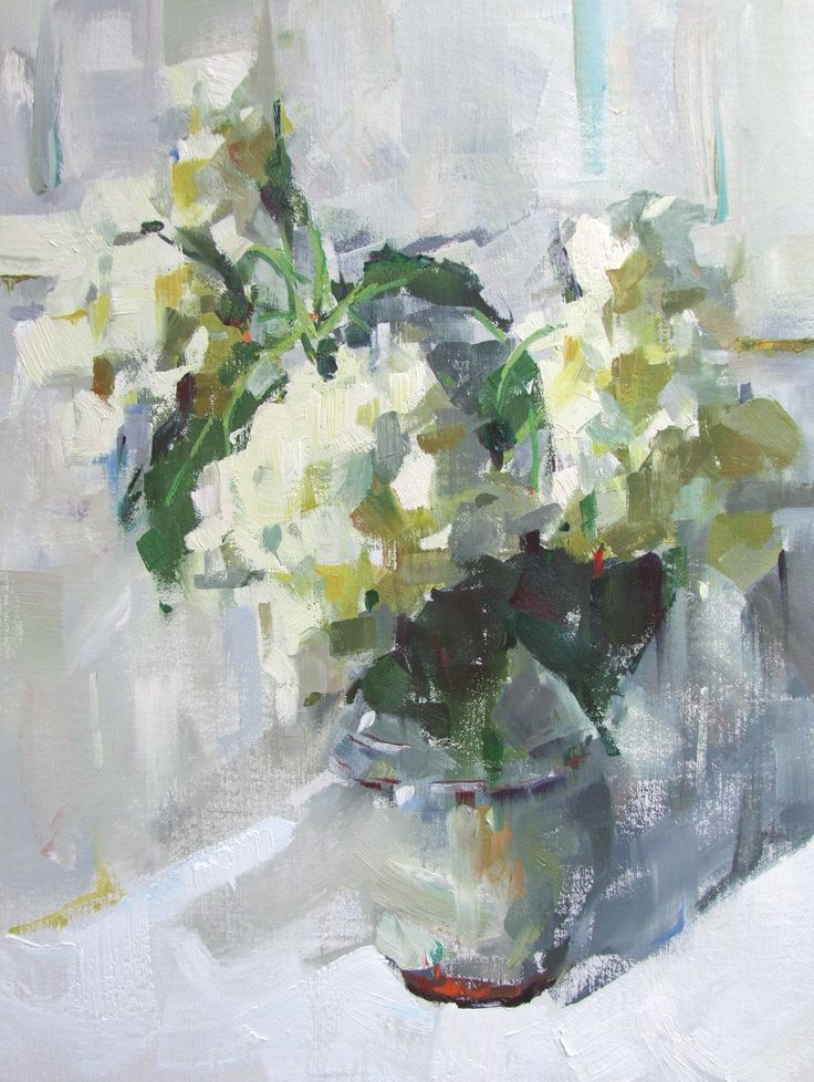 """""""Find My Heart"""" hydrangea impressionistic oil painting, study of white and grays, by Alabama artist Gina Brown www.GinaBrownArt.com"""