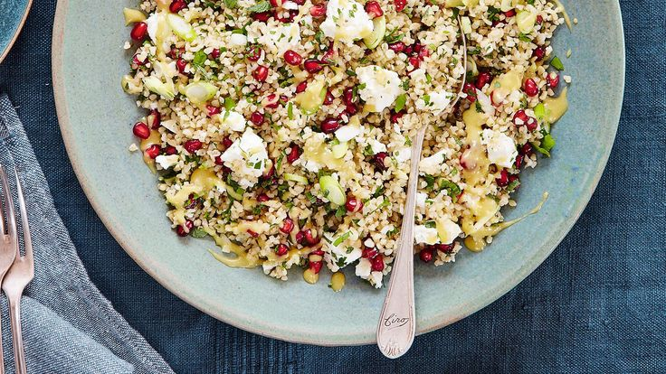 Salads and sauces Bulgur wheat salad with feta, mint and pomegranateBy Mary Berry Serves 4-6Ingredients225g bulgur wheat4 spring onions, slicedA small bunch of fresh parsley, choppedA small bunch...