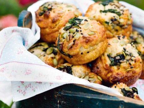 Muffins med bladspenat och solrosfrön Receptbild - Allt om Mat