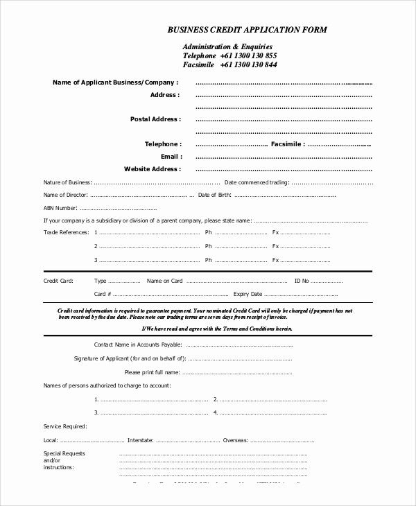 Auto Credit Application Form Template Inspirational Credit Application Sample Application Form Job Application Form Form Example