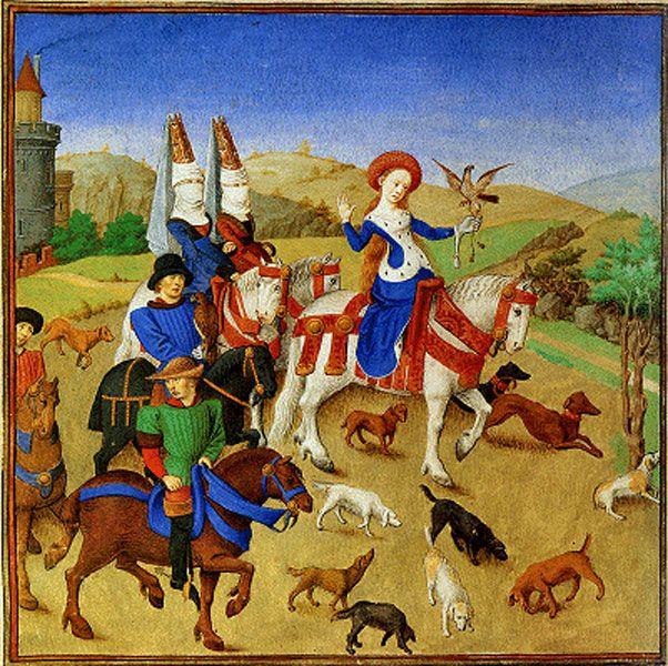 """Emilie à la chasse assistant au combat entre Arcitas et Palamon from """"La Théséide"""" by Barthélemy d'Eyck,c. 1460"""