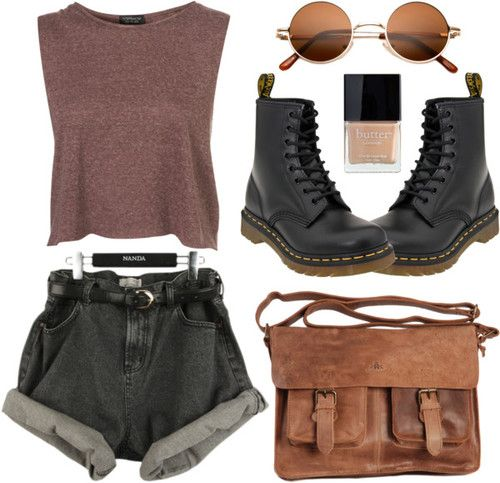 Untitled by hanaglatison featuring butter london ❤ liked on PolyvoreCrop shirt / Satchel bag / Round hippie sunglasses / Butter London