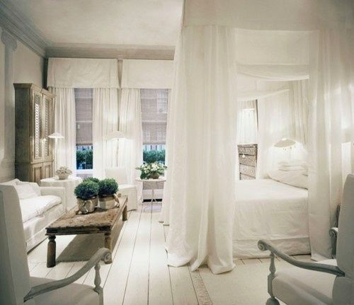 █ Author → http://pinterest.com/PinterestFella/ █  Tranquil white bedroom, canopy bed, floor love From → http://thebookofsecrets.tumblr.com Artist Linda beautifully cool not chic Rich and loving.  Women bare cave