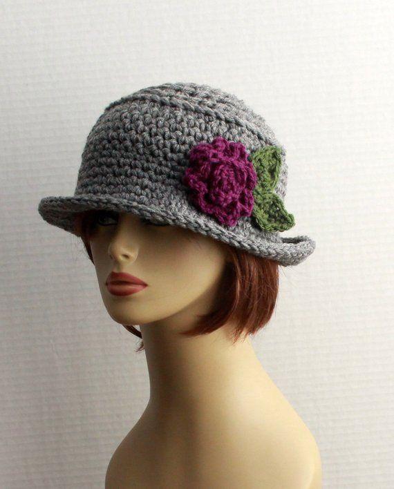5aec25efeeb6f Crochet Womens Hats - brim winter hat - chunky womens hat - 20s style hat -  beautiful flower - cloche style hat - unique