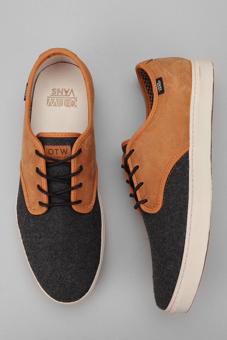 Vans Black Leather Fashion Sneakers OTW By Vans Ludlow Wool And