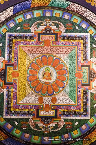 Roof decoration mandala in Golden statue of bodhisattva Avalokiteshvara or Chenresig in Royal Bhutanese Monastery Bodhgaya Bihar, India . Picture by Maciej Wojtkowiak