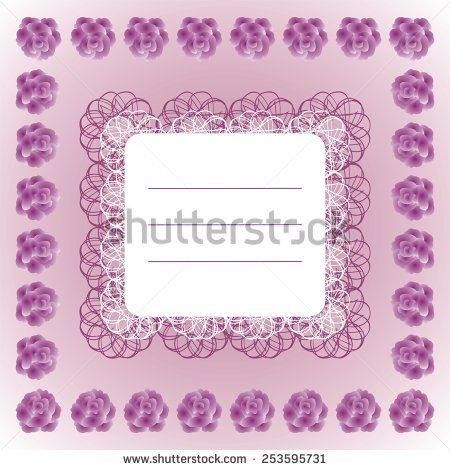 Decorative #text #frame with #lace and #roses on #purple background