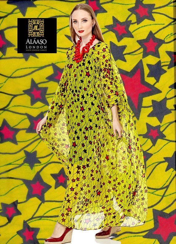 Gele Chiffon stof van Afrikaanse Print door TheFabricMintLondon