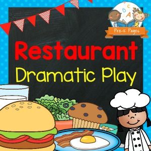 Restaurant theme dramatic play center for your preschool, pre-k, or kindergarten classroom. Printable props to make changing themes easy!