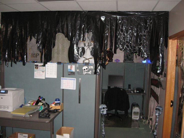 good idea for using black trash bags to decorate with halloween cubiclehalloween officehalloween
