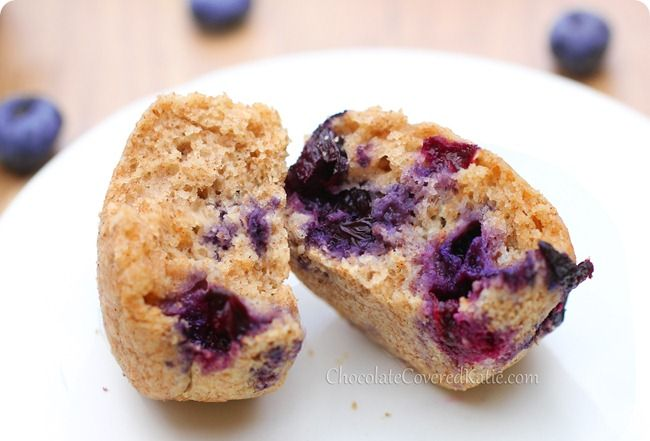 These healthy blueberry muffins are light, fluffy, and bursting with fresh blueberries.