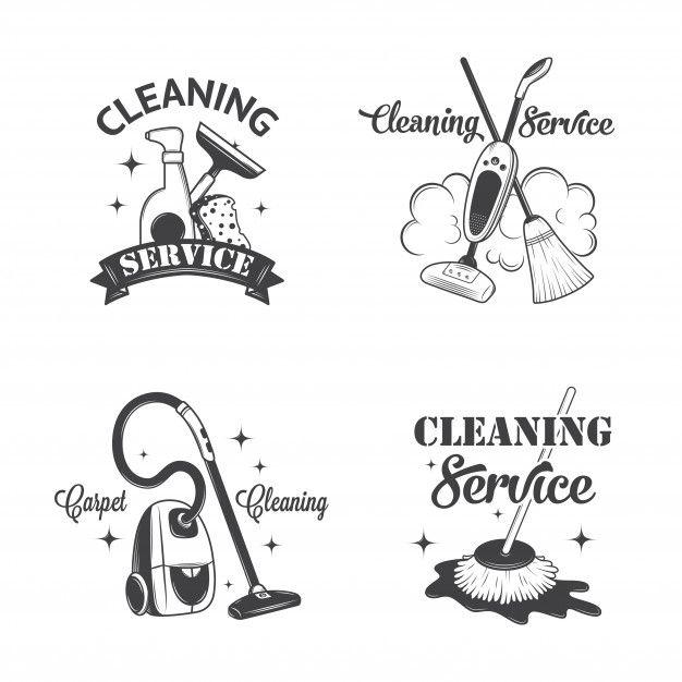 Ensemble De Logos Vintage Cleaning Business Cards Cleaning Logo Housekeeping Logo