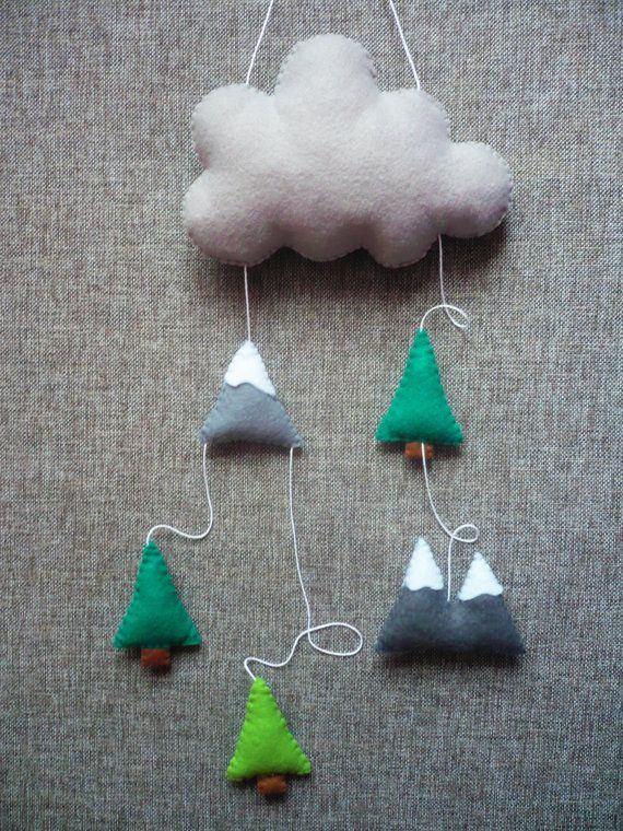 Mountains Baby Mobile Modern Nursery Decor Trees Baby by Feltamour