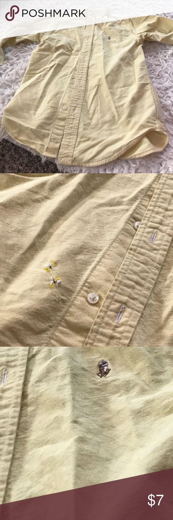 Boys polo Ralph Lauren dress shirt Good condition! 2 Small holes on front where gets tucked in and was snagged on my sons zipper other than that  like brand new!!! Comes from per free and smoke free home!  Feel free to make an offer as no price is set in stone 😜 Polo by Ralph Lauren Shirts & Tops Button Down Shirts