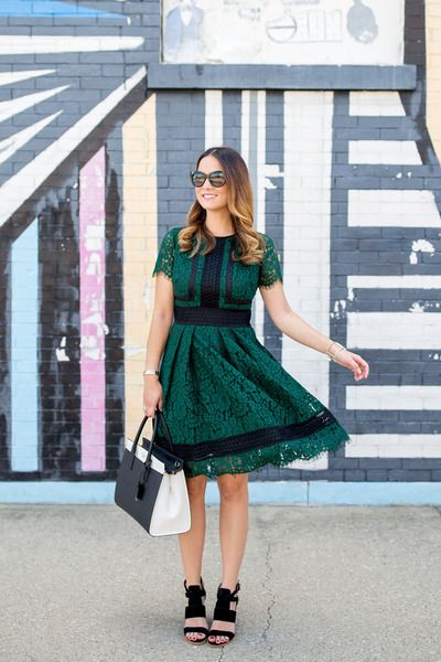 black satchel kate spade bag - dark green lace Eliza J dress
