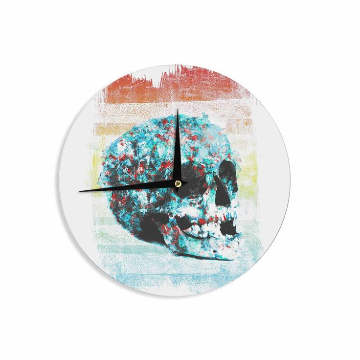 """Frederic Levy-Hadida """"Floral Skully 2 """" Coral Teal Wall Clock"""