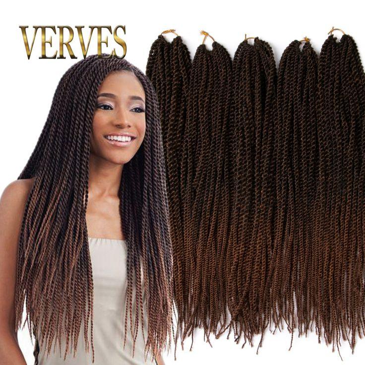 Ombre Tığ Örgü saç 18 inch 75 grams/adet, küçük Senegalese Büküm Saç 30 kökleri Sentetik Örgü Saç örgü saç uzatma