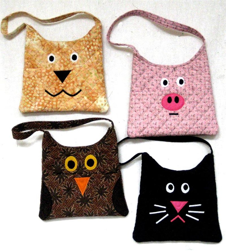 Animality Purse Pattern QDN-305e (instant download) - cat, pig, owl, dog (well, they say it's a dog - doesn't look much like one to me, lol)