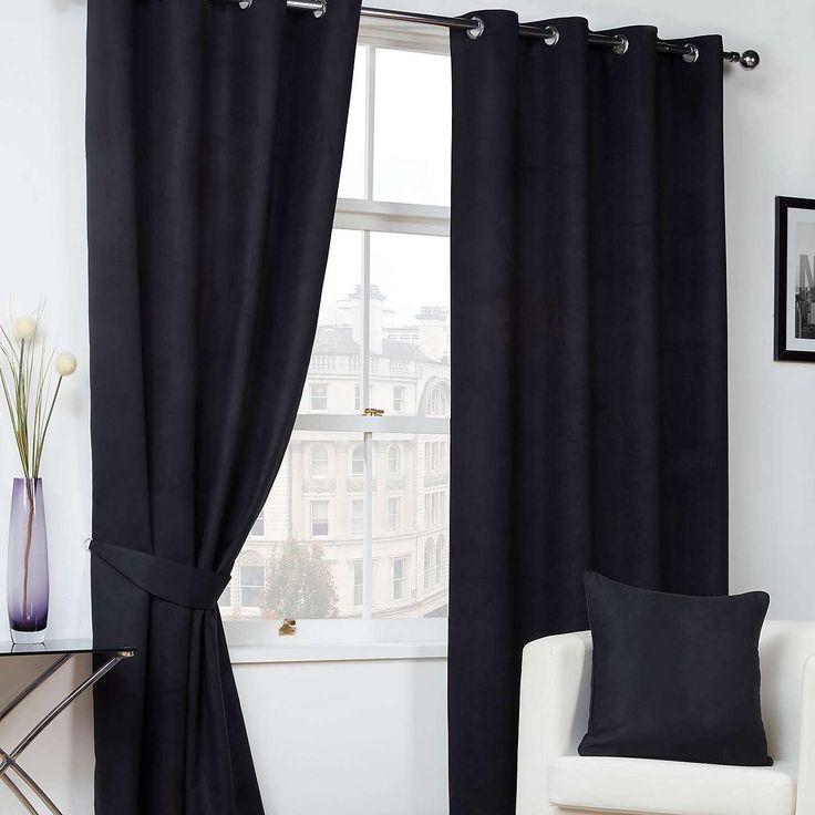 Faux Suede Black Eyelet Curtains   Dunelm