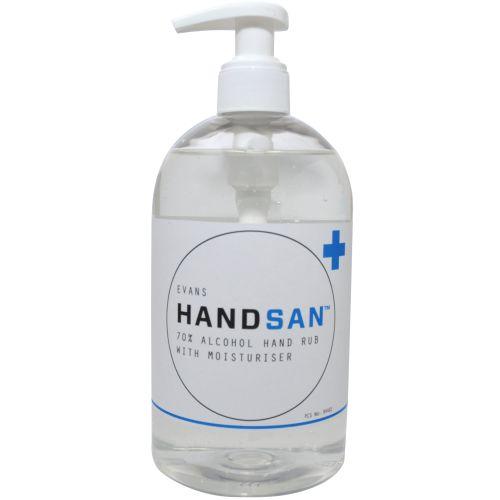 Evans Vanodine Handsan 70% Alcohol Hand Sanitiser with Moisturiser 6 x 500 ml