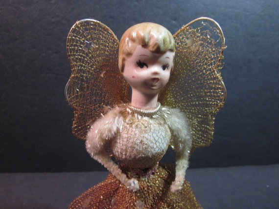 Vintage Christmas Tree Top Gold Angel