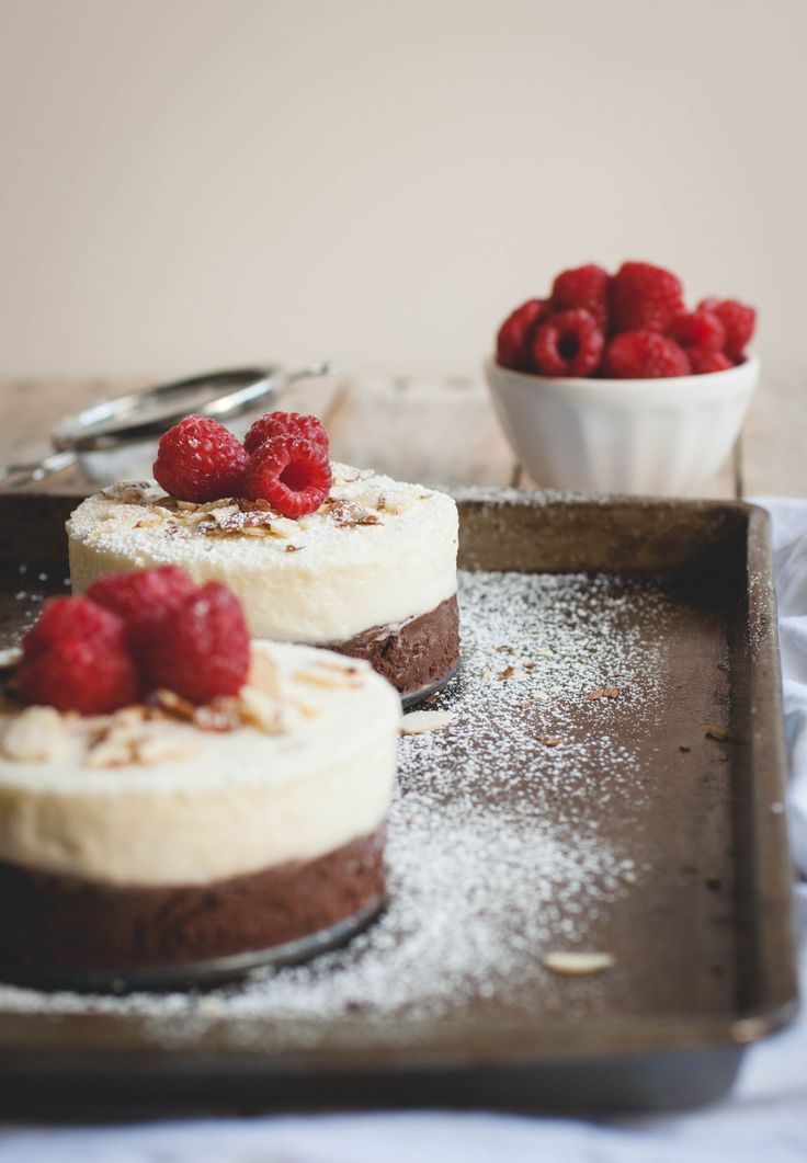 No-bake almond and raspberry double chocolate cakes