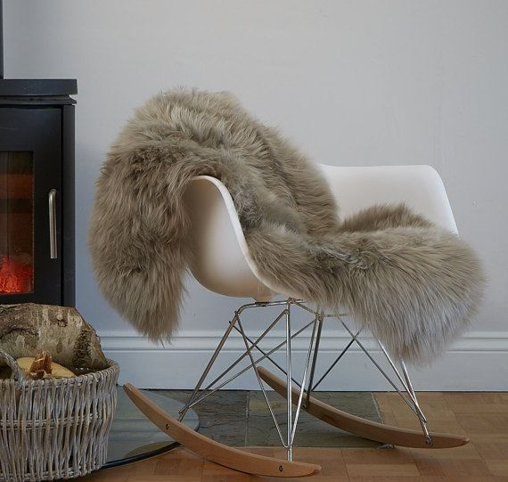 Stunning soft taupe coloured sheepskin rug