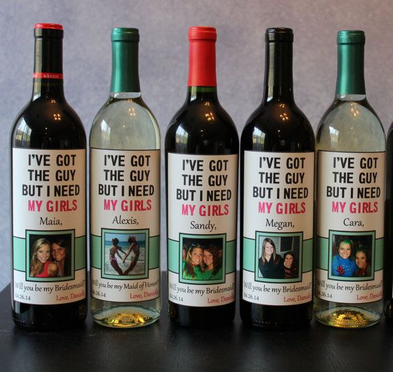 """12 Creative Ways to Ask, """"Will You Be My Bridesmaid?"""" – f your girls live for wine night: Get a set of 5 personalized wine labels at the Classic Wedding Design shoppe on @Etsy."""