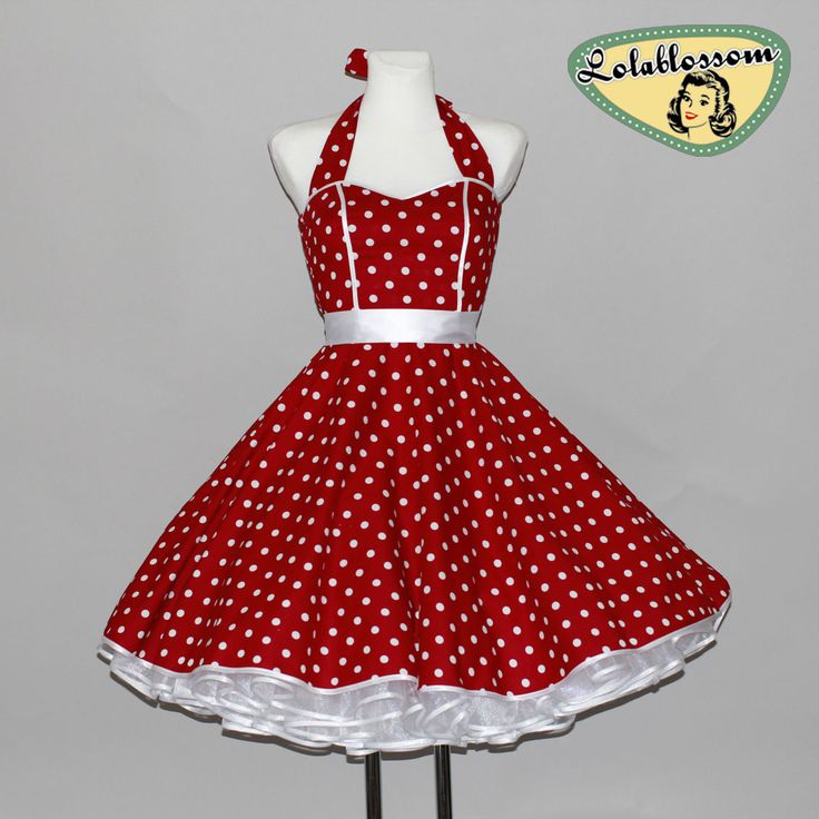 50er Jahre Petticoat Kleid Tanzkleid Rockabilly rot weiß Polka Dots