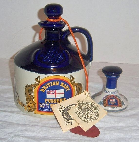 British Navy Pusser's Rum Miniature Liquor Bottle  (Vintage Mini Alcohol Hand Cast Jug with Cork, Pussers)