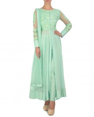 Resham Embroidered Mint Green Suit