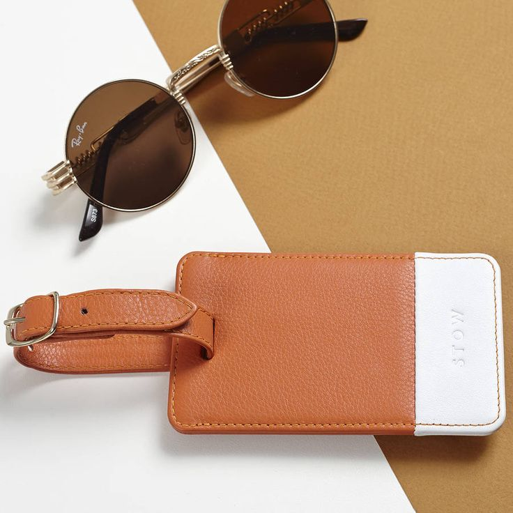 personalised soft luxury leather luggage tag by stow | notonthehighstreet.com