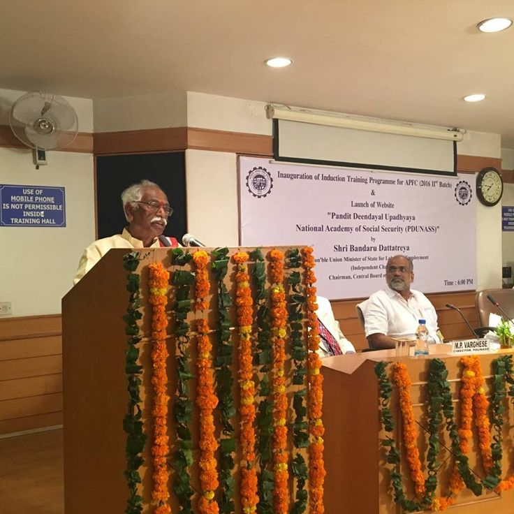 "Shri. Bandaru Dattatreya ji,Hon'ble Minister of State (IC) for Labour and Employment, Government of India inaugurated the Introduction of Training Programme for APFC(2016 2nd Batch) & launched the website of ""Pandit Deendayal Upadhyaya National Academy of Social Security(PDUNASS)"" today at PDUNASS the training Academy of EPFO. He urged PDUNASS to transform itself into an international centre of excellence in the field of #SocialSecurityStudies & explore becoming a focal point for training…"