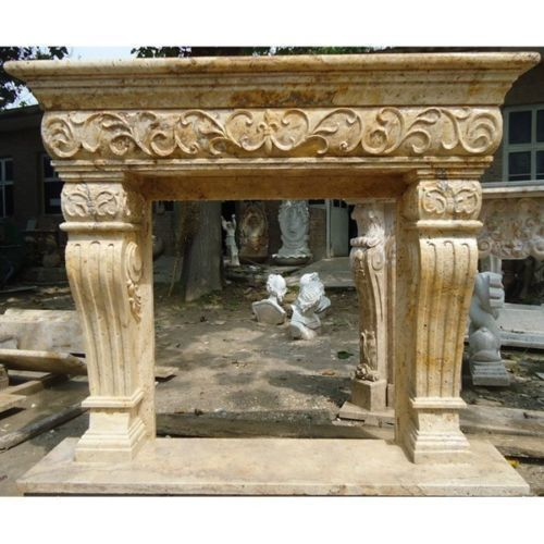 """Marble mantel Beige hand Cut 42"""" Box Ready 75"""" x 63"""" Large New Free shipping"""