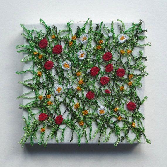 Meadow - miniature textile art canvas, machine embroidery, dissolvable fabric