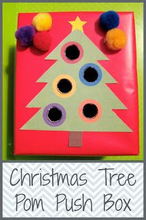 Christmas Tree Pom Pom Push Box (printable included to make your own)
