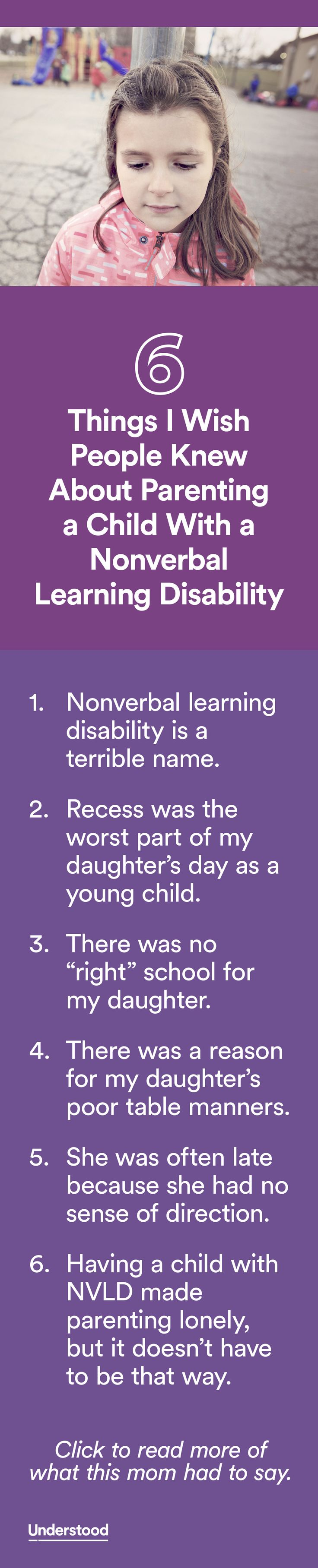 """Before my daughter was diagnosed at age 5 with a nonverbal learning disability (NVLD), I already knew she was different."""