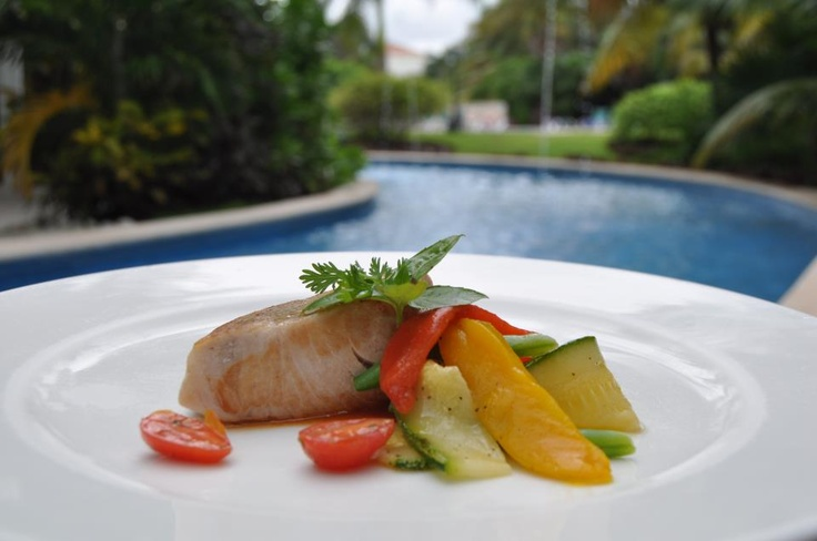 We could go for some Grilled Salmon by the pool from La Isla Restaurant at the El Dorado Royale, by Karisma. #yum