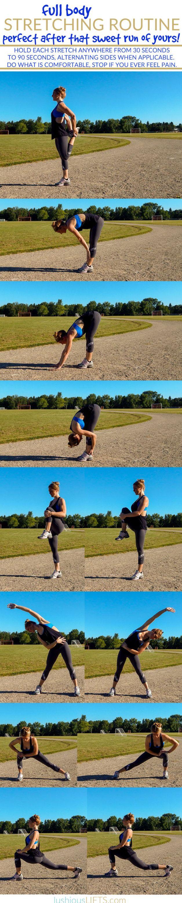 Post Run Full Body Stretching Routine || lushiousLIFTS.com
