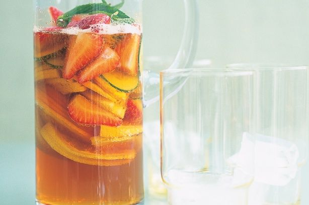 Pimm's Punch recipe. We had this at Annie's wedding. It was delicious! Same recipe but also had ginger beer and raspberries.