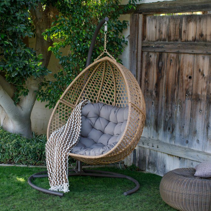 Belham Living Cayman Resin Wicker Hanging Double Egg Chair With Cushion And Stand Hayneedle Hanging Chair Outdoor Hanging Egg Chair Patio Swing Chair