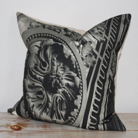 """Decorative Pillow with black & white print inspired by Paris and the """"Grand Palais des Champs-Élysées"""", in Paris."""